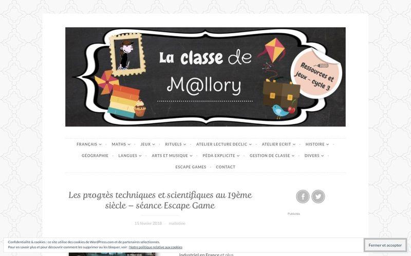 Les progrès techniques et scientifiques au 19ème siècle - séance Escape Game - La classe de Mallory