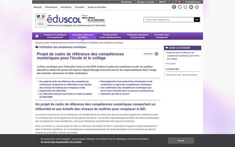 Certification des compétences numériques - Éduscol